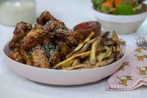 Sticky Sesame Chicken Wings with Crispy Sweet Potato Fries