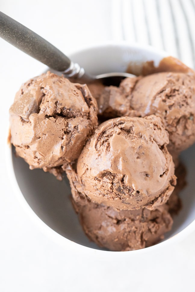 Up close picture of chocolate ice cream in white bowl with a spoon. Bowl is on a white surface