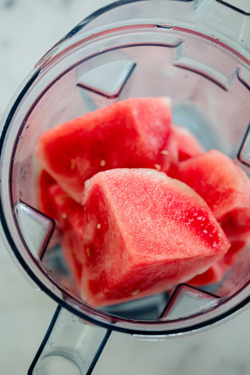 blender full of watermelon chunks