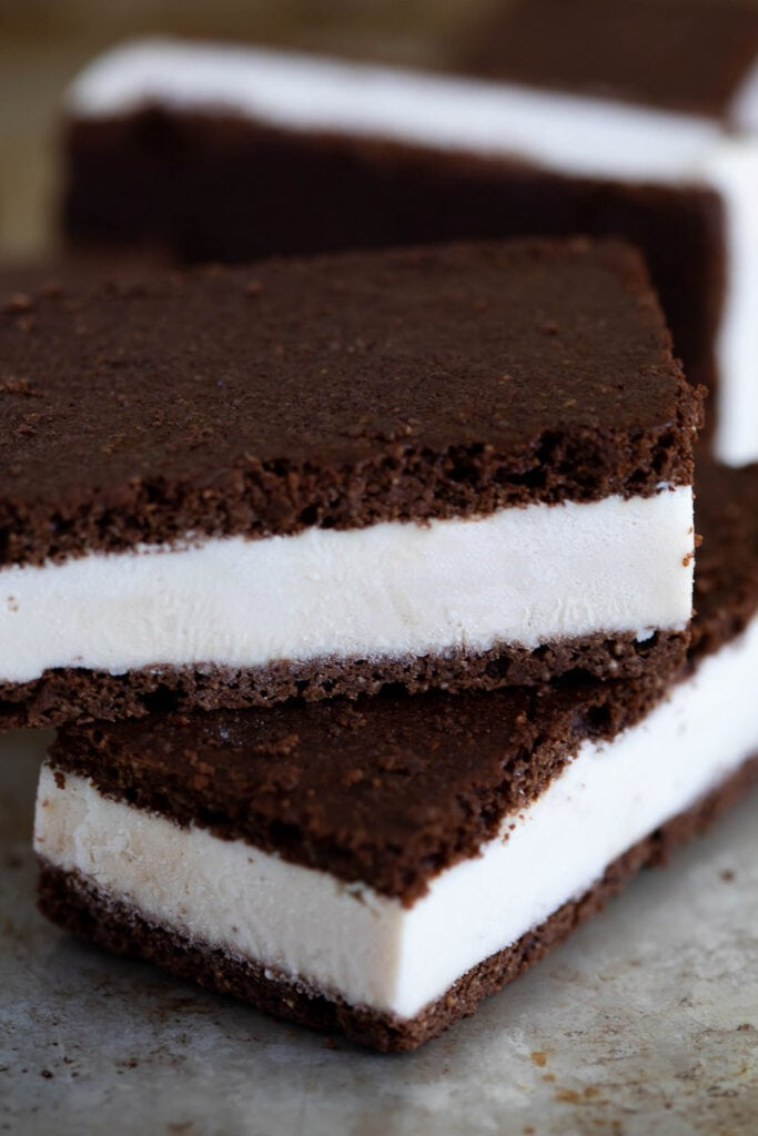 up close view of two ice cream sandwiches