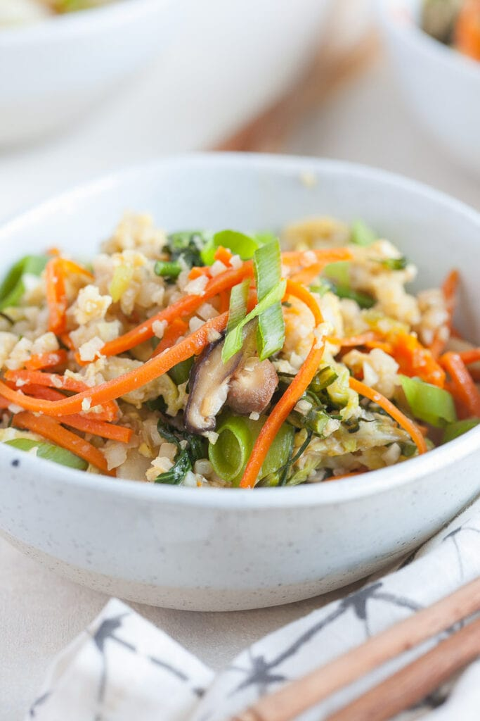 Veggie Fried Rice in a white bowl