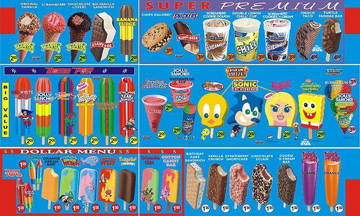 Old school menu of ice cream truck