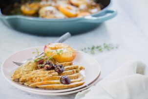 Skillet Spiced Roasted Chicken with Summer Fruits